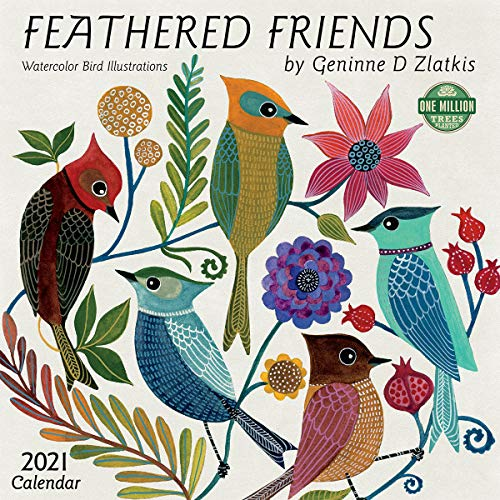Feathered Friends 2021 Wall Calendar: Watercolor Bird Illustrations