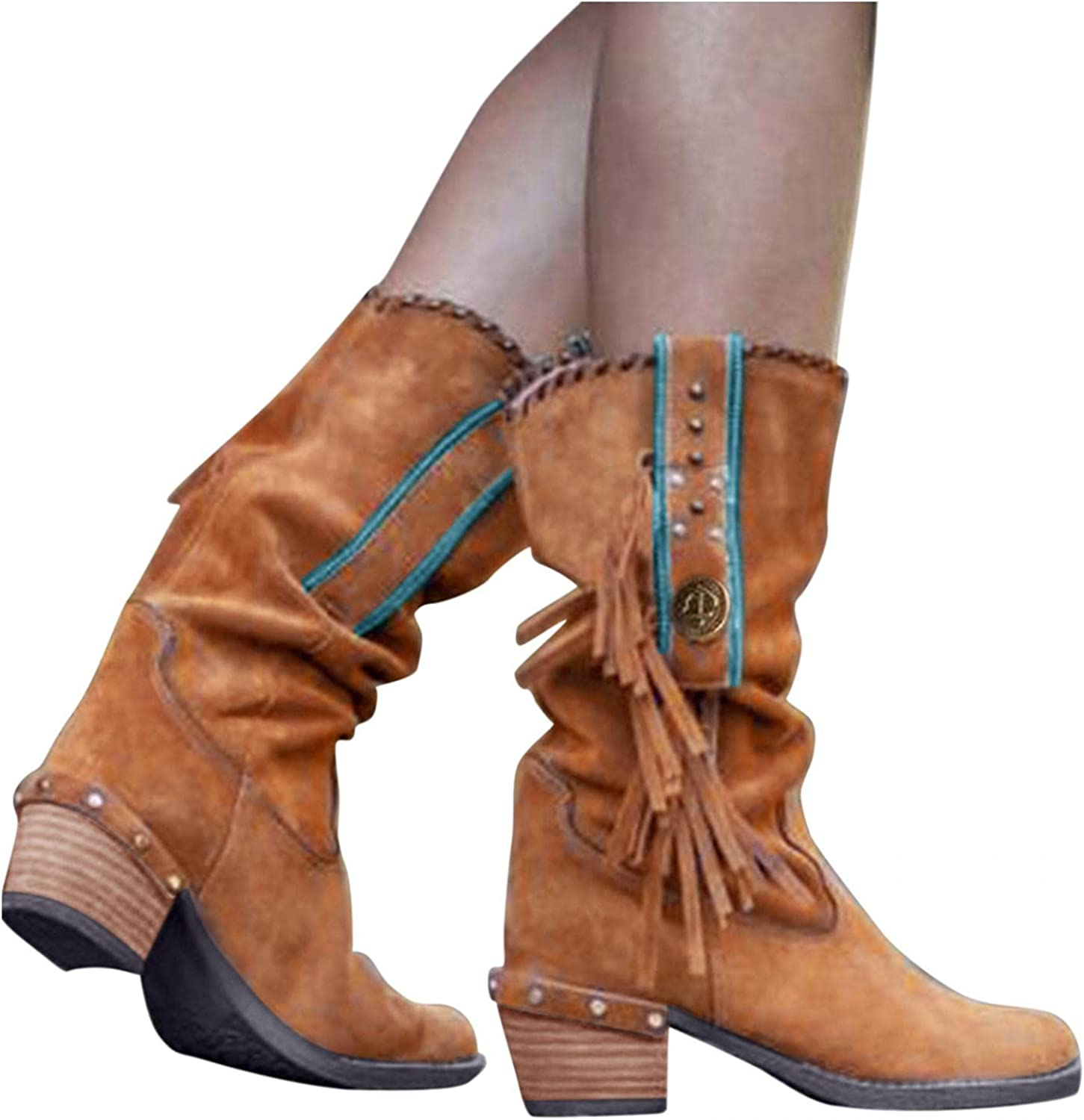 Zieglen Women's Winter Boots, Women's Boots with Retro Fringe Wide Calf Mid Booties Western Boots Snow Boots Motorcycle Boots