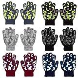 QKURT 6 Paare Kinderhandschuhe,Voller Finger Kinder Winterhandschuhe Strickhandschuhe Geeignet für Kinder im Alter von 5 bis 13 Jahren