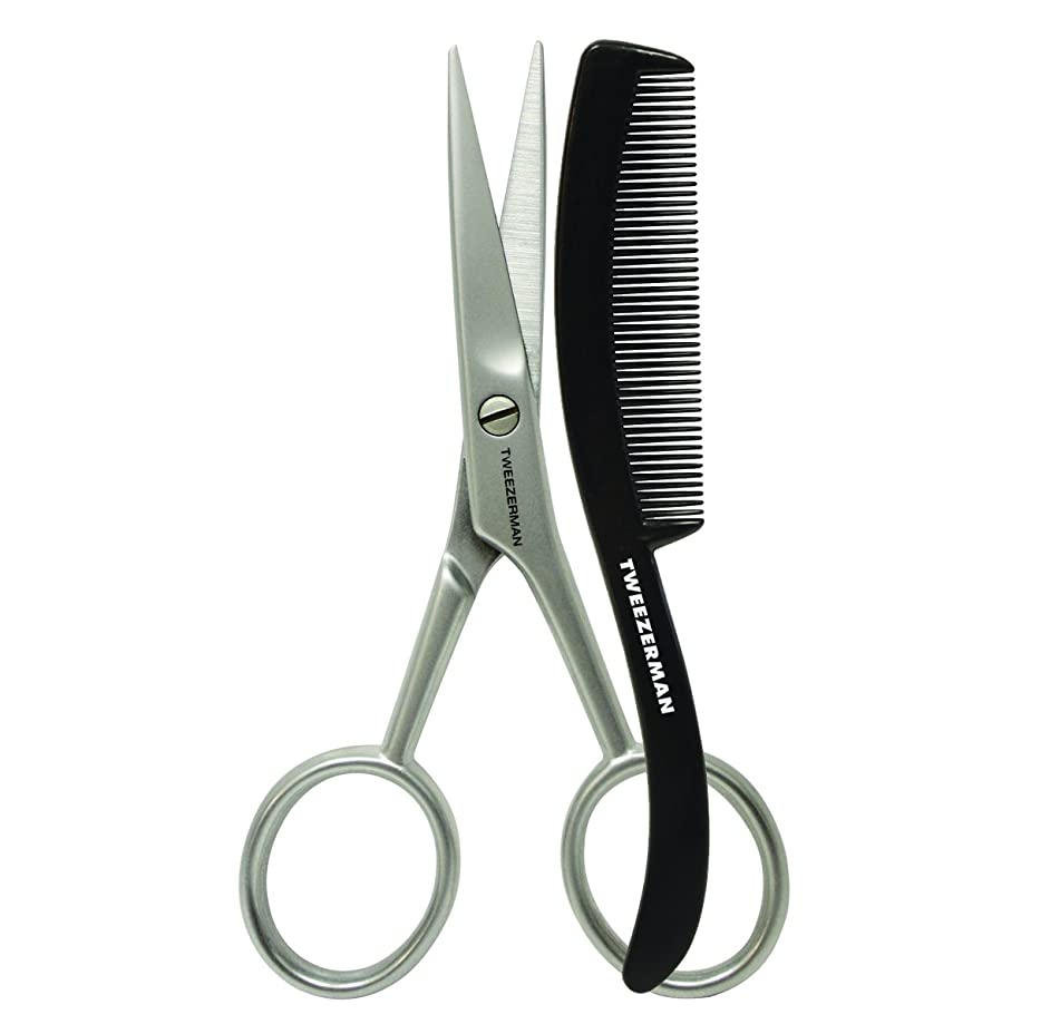 Tweezerman Moustache Scissors with Grooming Comb