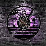 Reloj de Pared 1 Pieza Bar Hombre Diseño Vinilo Decorativo Reloj de Pared Vinoteca Bar de Bebidas Pub Bartender Pared Negro Colgante Moderno Decoración para el hogar Arte 12 Pulgadas