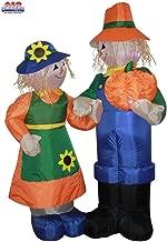 5 1/2' Air Blown Inflatable Thanksgiving Scarecrow Man & Woman Holding Pumpkin