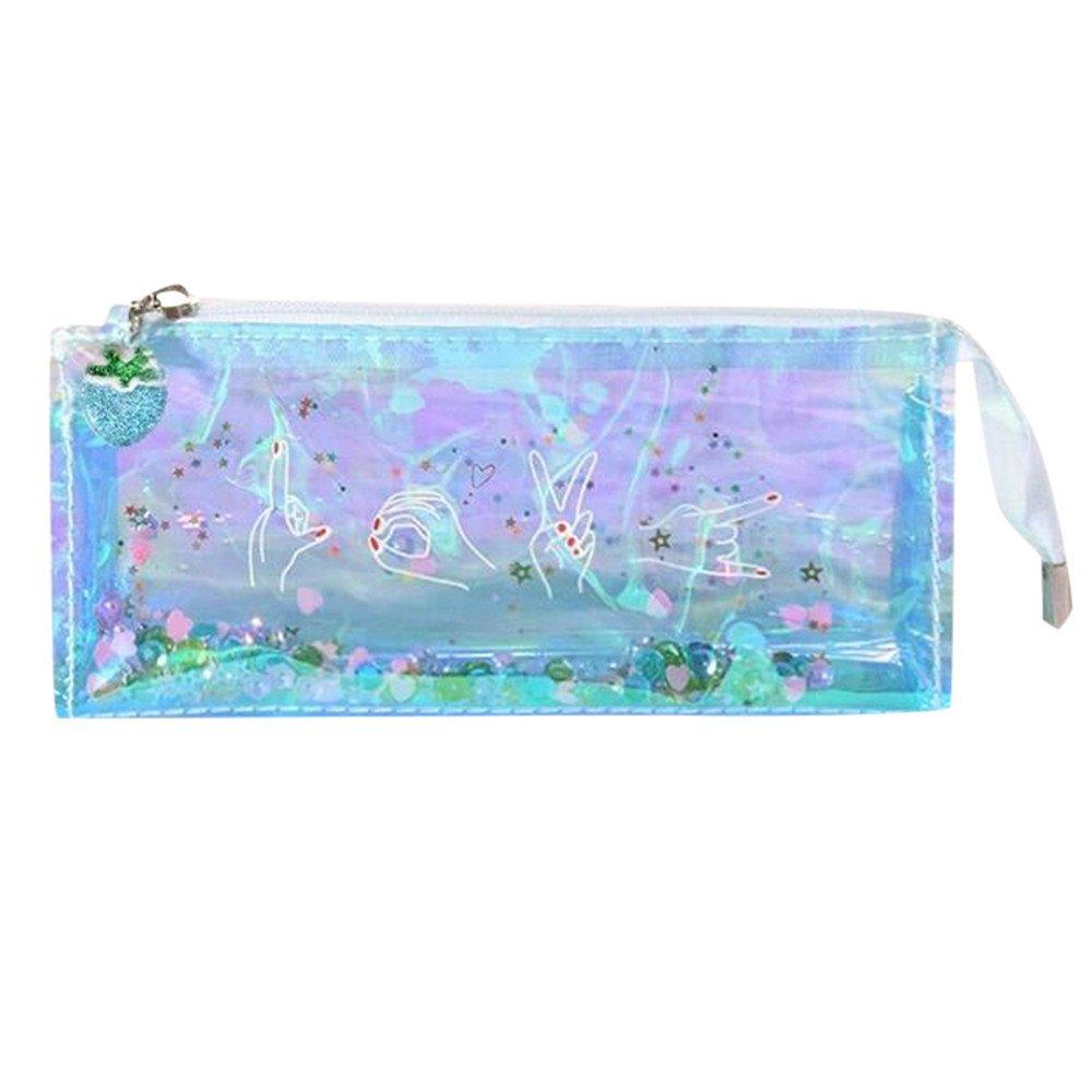Pencils Caja gaddrt lápices caja multicolor transparente estuche Neceser de maquillaje bolsa borla, color D 20.2x9x6.6 cm: Amazon.es: Oficina y papelería