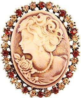Retro Geometric Circle Beauty Avatar Brooch,Rhinestone Queen Cameo Brooches for Women Girls Party Gifts