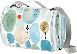 EGGDIOQ Green Circle Watercolor Picnic Blanket Waterproof Outdoor Blanket Foldable Picnic Handy Mat Tote for Beach Camping...