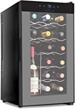 NutriChef 18 Bottle Thermo-electric Wine Cooler/Chiller, Counter Top Wine Cellar with Digital Control, Freestanding Refrigerator, Smoked Glass Door, Quiet Operation Fridge (Renewed)