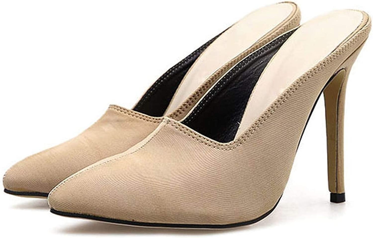 Gooding life Stretch Fabric High Heel Women Mules Sexy Women Pumps High Heels Solid Party Ladies shoes