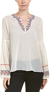 CATHERINE CATHERINE MALANDRINO Womens Spilt Next Embroidered Dropped Bell Sleeve Top
