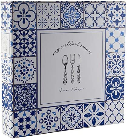 Cookbook Recipe Binder Organizer Blue Pattern 3 Ring Binder to Hold All Your Recipes and Recipe product image