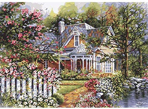 QGHMV DIY 5D Diamond Painting Kit Garden house view Diamond Painting Kits Round Full Drill Home Wall Decoration Crystal Embroidery Drawing Crafts Embroidery(Pre-printed full diamond)