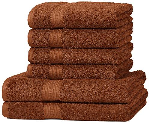 AmazonBasics kleurvaste handdoek-set, 2 badhanddoeken en 4 handdoeken, eikelbruin 500 g/m²