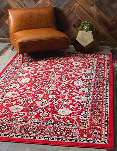 Unique Loom Sialk Hill Collection Traditional Floral Overall Pattern with Border Red Home Décor Area Rug (5' x 8')