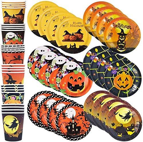 Larchio 72PCS Halloween Party Tableware Disposable Halloween Plates and Cups for Halloween Party product image
