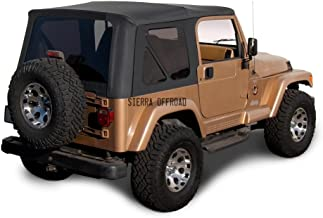 Sierra Offroad Factory Style Soft Top with Tinted Windows, without Upper Doors Compatible with Jeep Wrangler TJ 1997-2006 (Denim Black)
