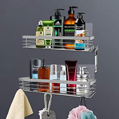 Orimade Shower Caddy with 5 Hooks Organizer for Hanging Razor and Sponge Bathroom Basket Adhesive Shower Shelf Storage Kitche