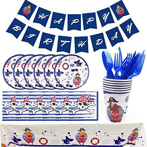 BAIBEI 32 Piezas Pirata para Fiestas, Set de Fiesta Kids Birthday Pirate, Pirata Artículos Fiesta Niño Incluye Platos, Cubiertos, Servilletas, Mantel, Tenedores y Cuchilos, 6 Personas