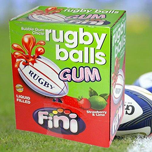 Kaugummi RUGBY BALLS; süßer Bubble Gum mit flüssiger Füllung, Erdbeer-Limette