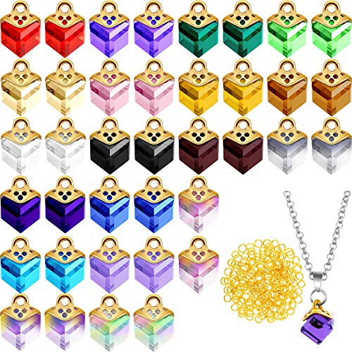 40 Pieces Cubic Crystal Charms Assorted Crystal Dangle Charms Pendants Handmade Dangle Bead Charms with 200 Pieces Open Jump Rings for DIY Jewelry Making Necklace Earring Accessories
