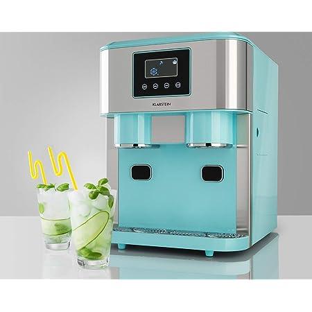 KLARSTEIN Eiszeit Crush - Machine à glaçons 3 en 1: glaçons, glace pilée, eau glacée, ice maker 2 tailles de glaçons, 15-18 kg / 24h, écran LCD, réservoir 1,8 l, capacité : 600 g - Bleu pastel