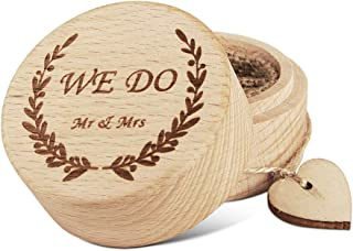 KWOOD Custom Wedding Wooden Ring Box,Personal Memories Engraved Name and Date Wdding Ring Box with Heart and Burlap Inside for The Wedding Ceremony On The Special Day