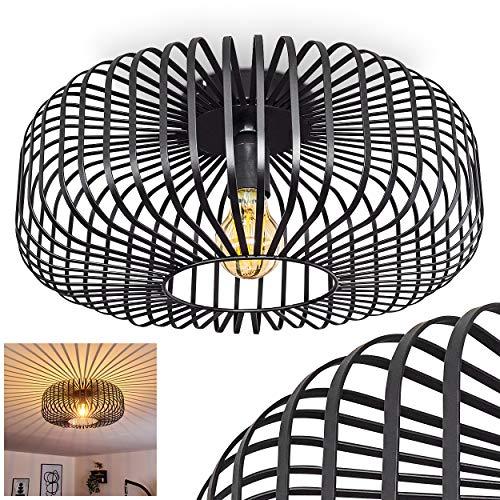 Deckenleuchte Wemude, Deckenlampe aus Metall in Schwarz, 1-flammig, 1 x E27-Fassung max. 60 Watt, moderner Leuchte im Retro/Vintage Design m. Gitter u. Lichteffekt an der Decke, LED geeignet