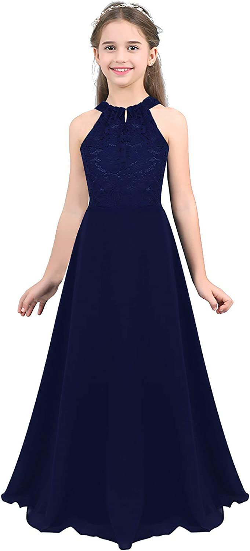 ranrann Kids Sleeveless Backless Flower Girl Dress Halter Chiffon Floral Lace Wedding Bridesmaid Dress Pageant Gown