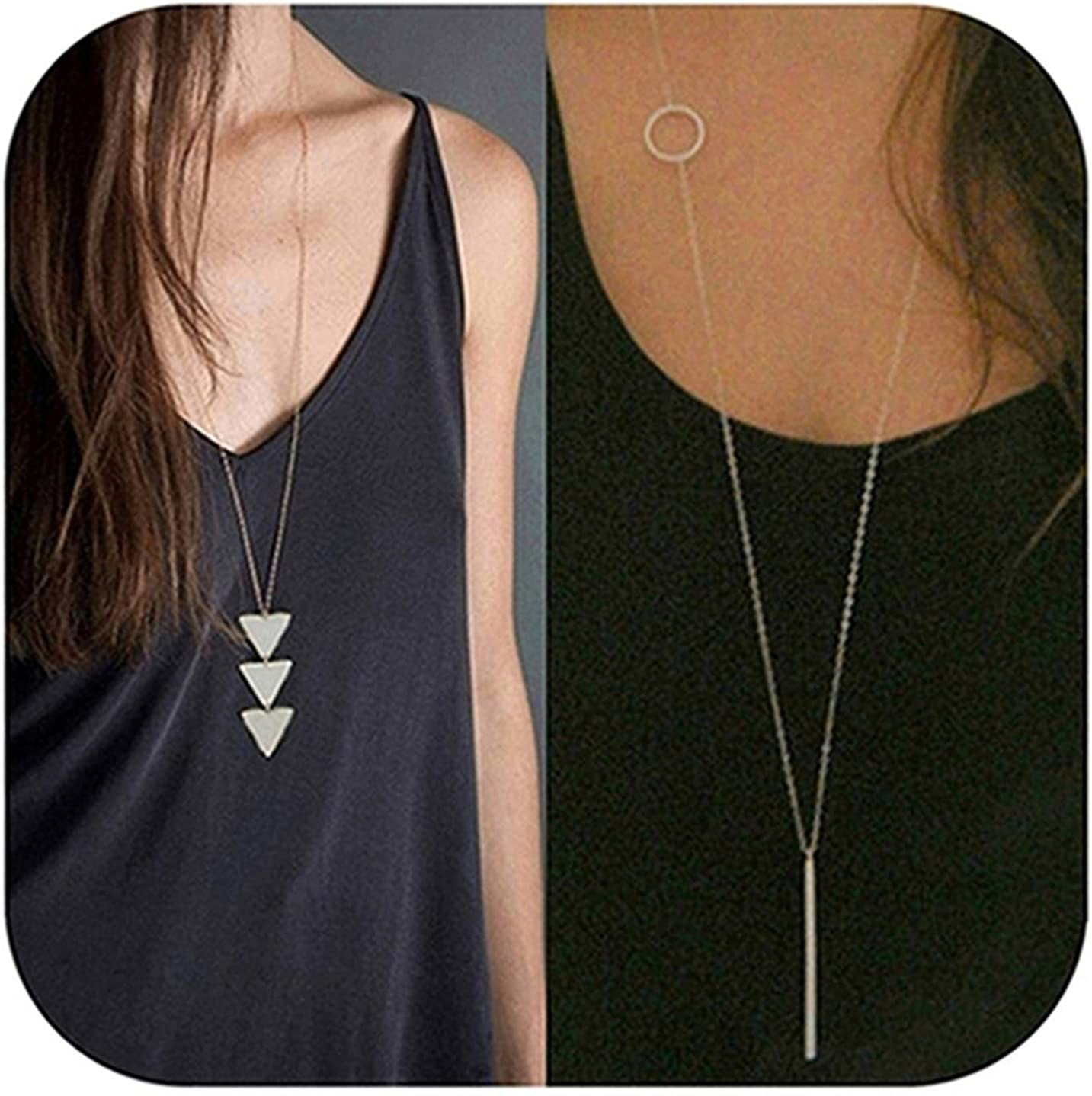 Defiro 2Pcs Y Layer Simple Bar Pendant Necklace Center Long Lariat Chain for Women Jewelry JAKIELAX