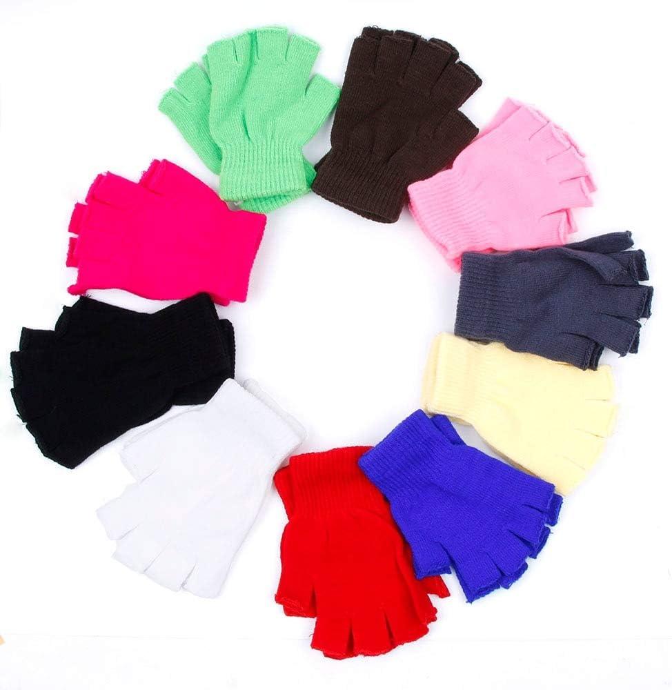 Ladies Winter Fingerless Gloves Mittens Solid Color Fingerless Half Fingers Warm KnitMagic Gloves Mittens Unisex Gloves - (Color: Beige)