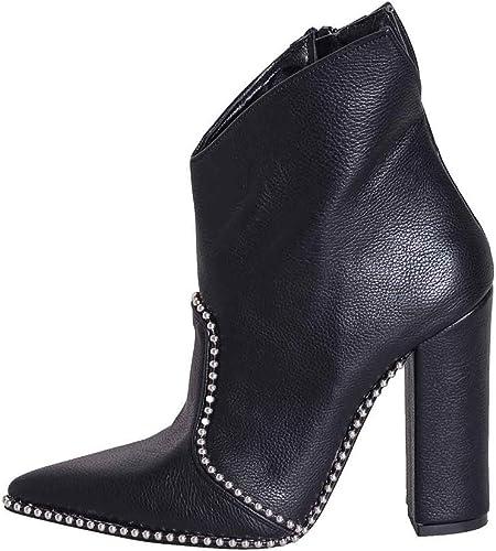 Chaussures Noires avec avec avec Talon en Cuir véritable Taille Nombre 39Made in  avec Micro Rivets Talon 10cm élégant cbn39 01 b9c