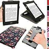 igadgitz U3530 Funda Eco-Piel Case Compatible con Amazon Kindle Paperwhite 2015 2014 2013 2012 con correa de mano integrada - Rosa con florales