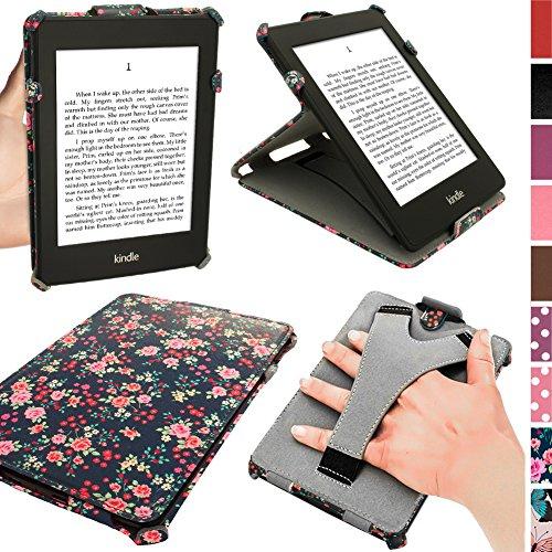 iGadgitz U3530 Blumen Muster PU Leder Hülle mit Stand/Auto Sleep/Wake/Handschlaufe Kompatibel mit Amazon Kindle Paperwhite 2015/2014/2013/2012