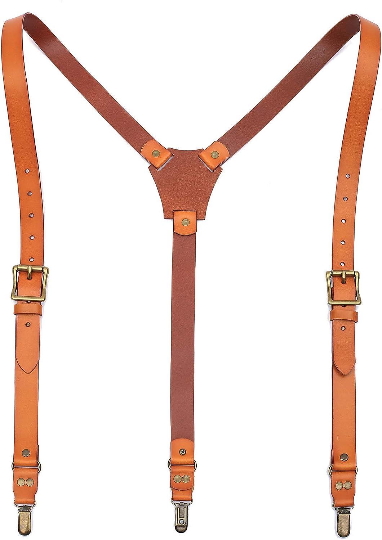 Leather Suspenders for Men, Genuine Leather Y Suspenders With 3 Metal Clips- Groomsmen Gifts.