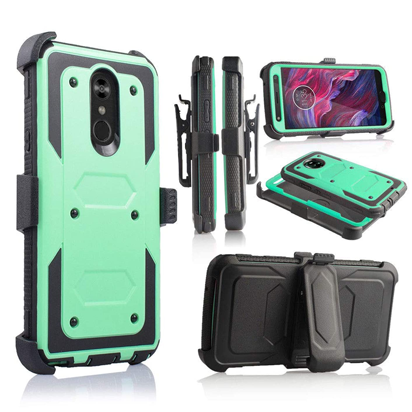 Compatible with LG Stylo 4 Case Full Cover Built in Screen Protector, Holster, Kickstand (Teal)