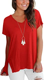 DJT FASHION Women's Short Sleeve High Low Loose T Shirt Basic Tee Tops with Side Split