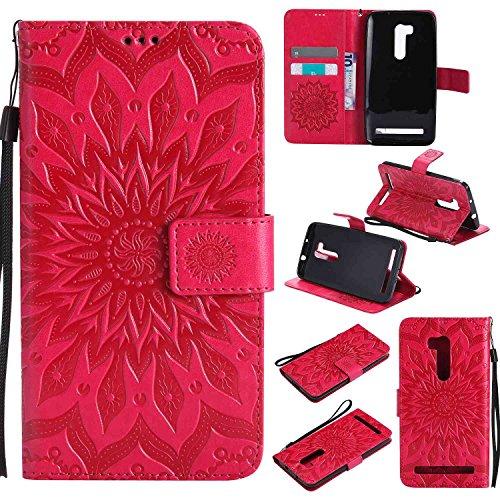 pinlu® PU Leder Tasche Etui Schutzhülle für Wiko Pulp 3G (5 Zoll) Lederhülle Schale Flip Cover Tasche mit Standfunktion Sonnenblume Muster Hülle (Rot)