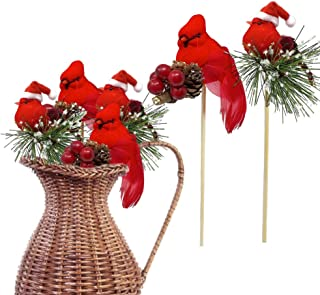 Red Cardinals Birds on a Stick - Assorted Style Cardinal Floral Picks - Set of 6 Birds Attached to Wooden Stems - Red Bird Centerpieces - Christmas DIY - Ornament Holiday Décor