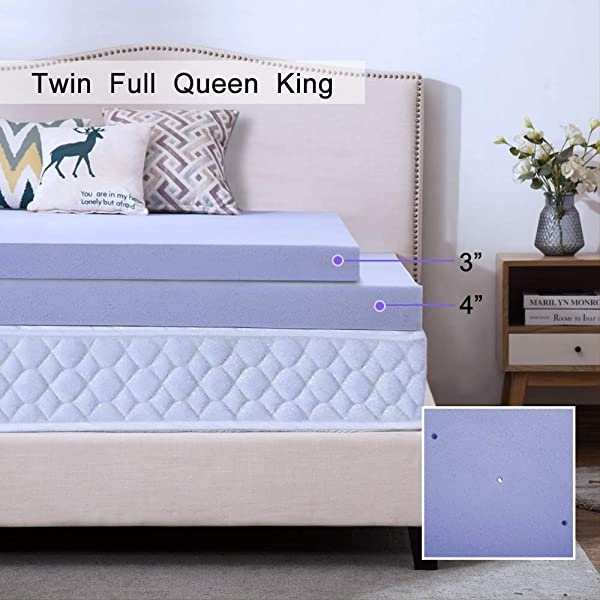 HouHai Memory Foam Mattress Topper 2 5 3 4 Inch Queen King Twin Full Size Ventilated Design Comfortable Mattress Support For Side Back Stomach Sleepers Full Lavender 4 Inch
