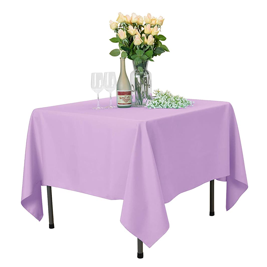 VEEYOO Square Tablecloth 70 inch - Solid Polyester Table Cover for Wedding Restaurant Party Coffee Shop Picnic, Lavender Table Cloth
