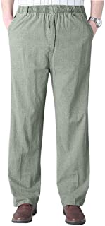Soojun Mens Seniors Solid Loose Fit Elastic Casual Pants