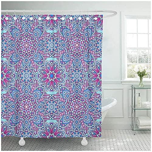 Encaje Floral y geométrico Patrón Ornamental Oriental Azulejos embellecidos Cortina de Ducha Juegos de baño Ganchos, Poliéster impermeable-180x180cm