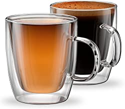 Stone & Mill Glass Coffee Mugs Double Wall Insulated Cups for Espresso, Latte, Cappuccino, Thermo Glassware, Modena Collection, Set of 2, Gift-boxed Am-10 12 oz