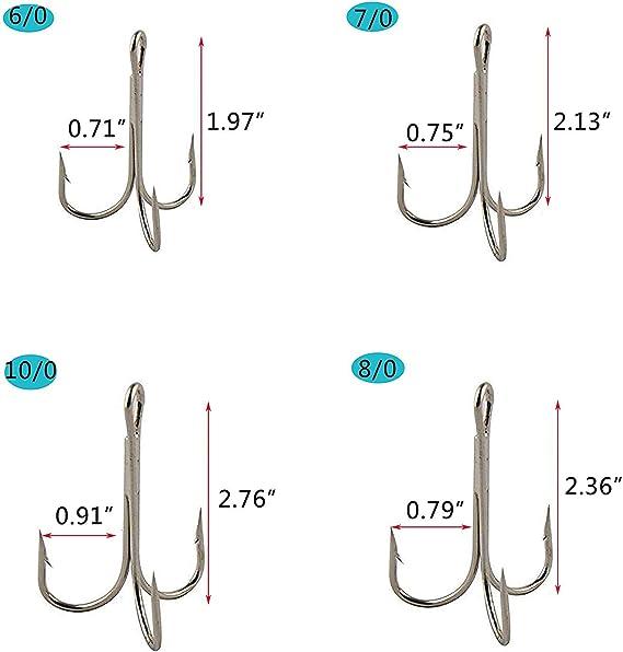 OROOTL 50 STK Drillinge Angelhaken Metall Angeln Drillinge Set mit Federgekleideten Fischk/öder Tackle Angelzubeh/ör Gr/ö/ße 6