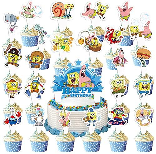 Sponge-BoB Cupcake Topper ,Sponge-BoB Theme Birthday Party Supplies Decoration Photo Background Baby Shower Cake Table Photo Booth Studio Prop Animation