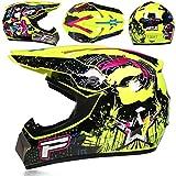 Amacigana® Casco de motocross, Downhill, casco de moto, casco de cross y enduro, para jóvenes y niños, casco todoterreno, combo, máscara y guantes (estilo #11, XL)
