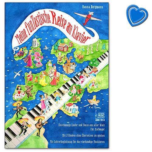 Mijn funtastische reis aan de piano - eenstemmige liedjes en dansen uit de hele wereld voor beginners - notenboek met kleurrijke hartvormige notenklem
