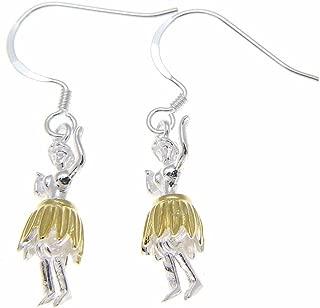 925 Sterling silver Hawaiian hula girl dancer 2 tone yellow gold plated hook wire earrings