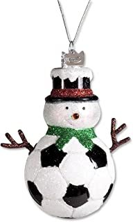 Kurt Adler Noble Gems Glass Soccer Snowman Ornament