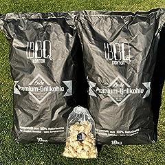 20kg (2x10kg) BBQKontor Premium Beukenkool - 100% Natuurlijke Beuk - Gegrilde houtskoolbeukgrirills in steakhousekwaliteit + 20 pc's. Lichter*