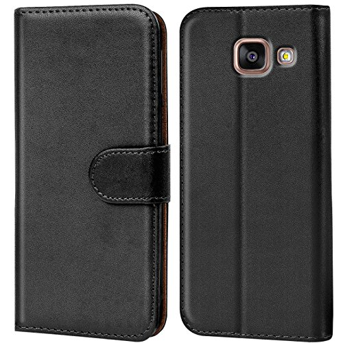 Verco Handyhülle für Samsung A5 (2016) Hülle, Schutzhülle für Samsung Galaxy A5 2016 [A510] Tasche PU Leder Flip Hülle Brieftasche - Schwarz