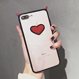 UnnFiko iPhone 7 Plus Case, Embroidery Heart Devil Horn, Transparent Red Border Phone Case, Creative Simplicity iPhone 8 Plus Soft Protective Case for Couple (Red Demon Corner, iPhone 7 Plus / 8 Plus)